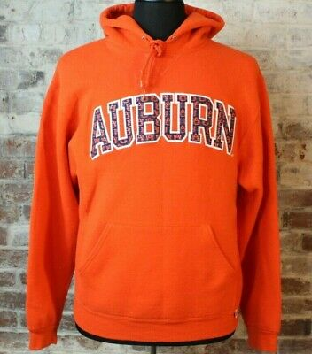 VTG Auburn Tigers Hoodie Bright Orange Patch Letters Spellout Russell 90s Size M