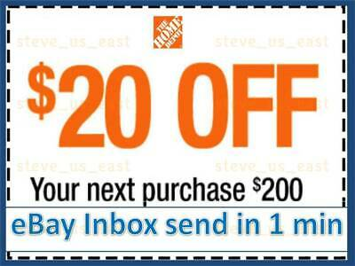 ONE 1x Home Depot Coupon 20 OFF 200 In-Store-Only-lNSTANT DELIVERY-NOW
