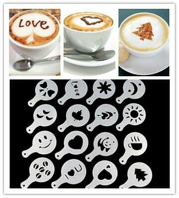 16Pcsset Coffee Barista Stencils Template Strew Pad Duster Spray Gusto Tool a1