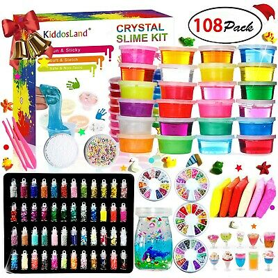 DIY Crystal 48 Glitter Powder Clear Slime Squeeze Stress Relief 24 Color Toy Kit