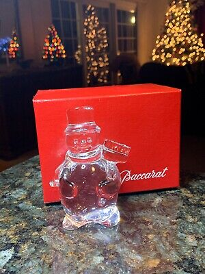 Baccarat French Crystal Snowman Figurine wBroom  with ORIGINAL Box SIGNED