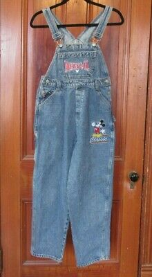 VTG Disney Mickey Mouse - Co- Denim Overalls Embroidered Youth Size 14 Kids L