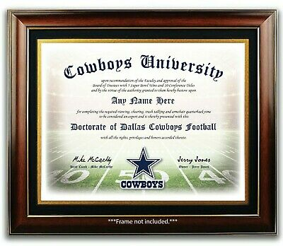 DALLAS COWBOYS NFL Football Fan Certificate  Diploma Man Cave GIFT Christmas