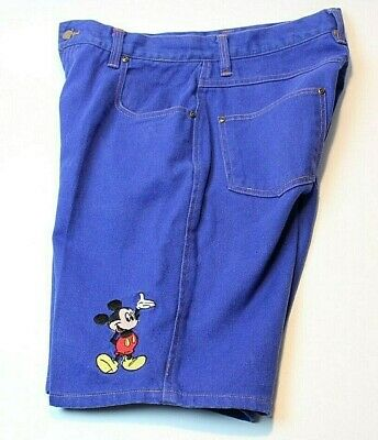 VTG Mickey Unlimited Disney Jean Shorts Blue Embroidered Mickey Mouse Mens 32
