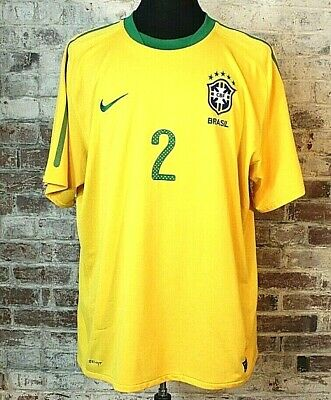 Nike Brazil World Cup Soccer Jersey 2 Maicon 201011 Yellow Home Kit Mens 2XL