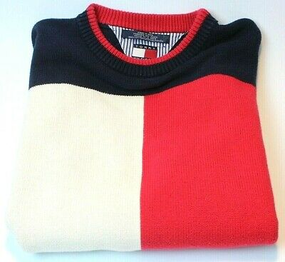 VTG 90s Tommy Hilfiger Sweater Colorblock Flag Logo YOUTH XL