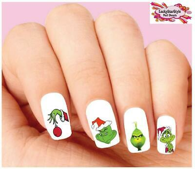Waterslide Nail Decals Set of 20 - Grinch Christmas Assorted