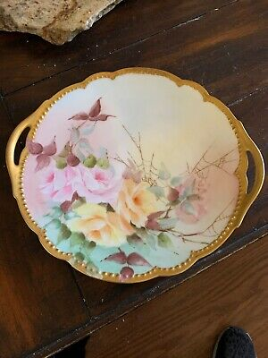 Vintage D-C Limoges France Handled 10 Plate Hand Painted Pink And Yellow Flower