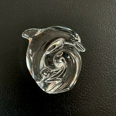 Authentic Steuben Crystal Dolphin on Wave Hand Cooler  Paperweight signed