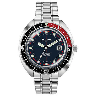 Bulova Mens Automatic Devil Diver Oceanographer Black and Red 44mm Watch 98B320