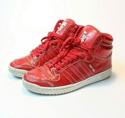 Adidas Top Ten Red Mens Size 8-5 Womens 10 F37589 Basketball Shoes