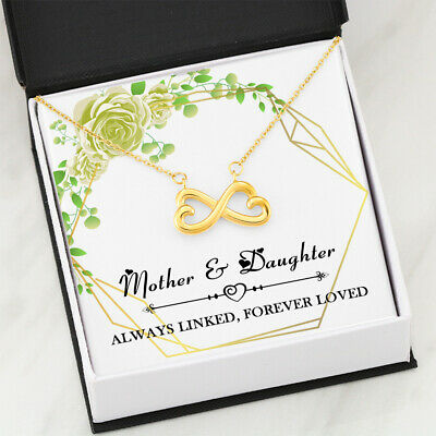 Mother - Daughter 18K Gold Infinity Heart Necklace Pendant Gift Mothers Day P507