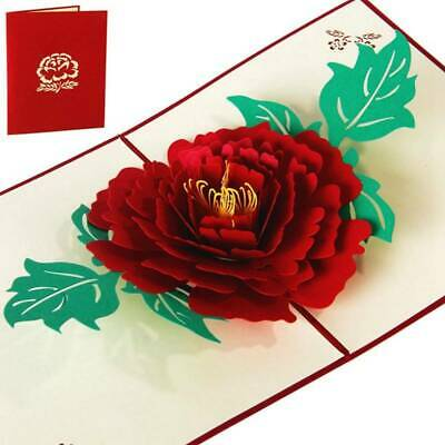 3D Red Peony Pop Up Cards Mothers Day Gift For Best Mom Greeting Card