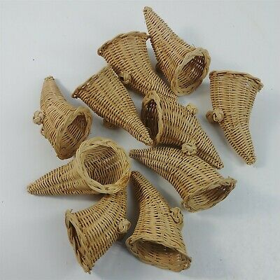 Wicker Cornucopia Horn Footed Thanksgiving 10 Decorations 4-5