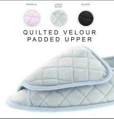 Coralee Womens Quilted Velour Padded Slipper Diabetic Slippers orthopedic US