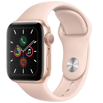 Apple Watch Series 5 40mm Aluminum Gold Case Pink Sand Sport Band - MWV72LLA