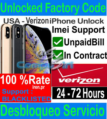 Verizon FACTORY UNLOCK SERVICE IPhone XS XS MAX XR X 8 7 IPHONE 11 MAX PRO