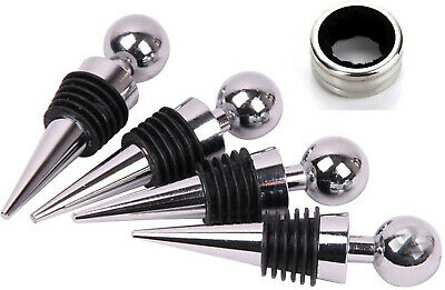 Stainless Steel Ball Design Wine Bottle Stoppers Drop Ring Set of 5