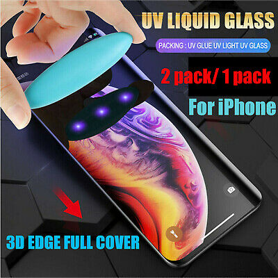 Fr iPhone 11 Pro Max 6 7 8- UV Liquid Full Cover Tempered Glass Srceen Protector