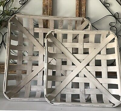 Rustic White Wash TOBACCO BASKET Small Basket Only  Farmhouse Chic Decor