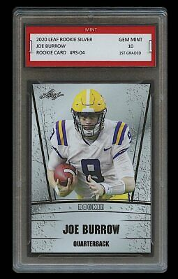 JOE BURROW 2020 LEAF SILVER 1ST GRADED 10 ROOKIE CARD RC CINCINNATI BENGALSLSU