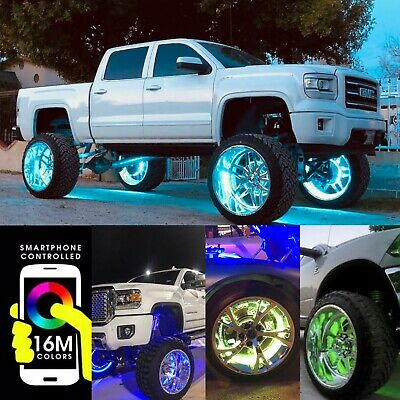 4x DOUBLE ROW  15-5 LED Wheel Rim Lights Bluetooth Controlled KIT