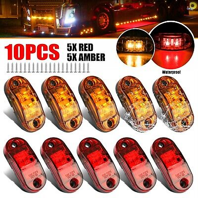 5x Amber- 5x Red LED Car Truck Trailer RV Oval 2-5 Side Clearance Marker Lights
