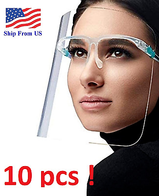 ✅ 10 SET Face Shield Guard Mask Safety Protection With Glasses Reusable