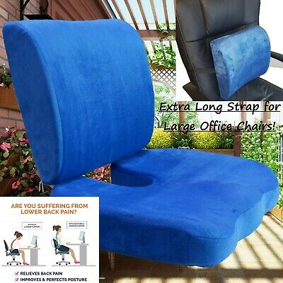 2 PC SET Memory Foam Back - Seat Cushion Pillow New Design 4 Large Office Chairs