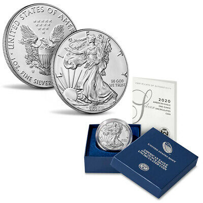 2020-W American Silver Eagle 1oz Burnished Uncirculated Coin OGPCOA