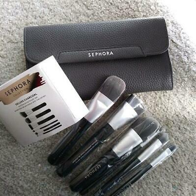 SEPHORA 6 BRUSHES SET DELUXE CHARCOAL ANTIBACTERIAL BRUSH SET NEW