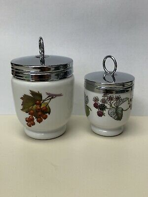 Two Royal Worcester Porcelain Egg Coddlers Large Small Cherry Blackberry