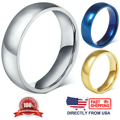 Stainless Steel Wedding Band 6mm Polished Comfort Fit Mens - Womens Ring