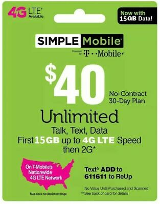 Simple Mobile Refill 40 Direct ReUp service  - 15GB 4GLTE - unlimited talk-txt