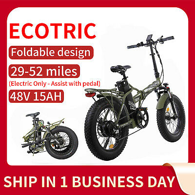 ECOTRIC 20 48V15AH 500W Folding Electric Fat Tire Bike Bicycle City Ebike LCD
