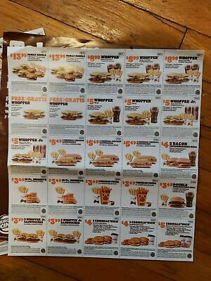 NEWEST 25 BURGER KING COUPONS BK Restaurant B1G1 Whoppers 122020  FAST SHIP