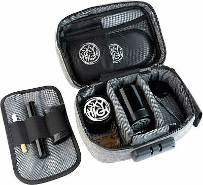 Stash Pouch Smell Proof Kit with Lock Grinder Tray Pick Storage Tube - More