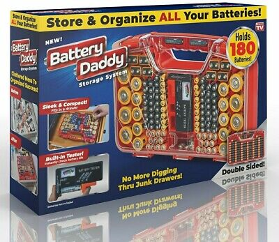 Battery Daddy 180 Battery Organizer and Storage Case with Tester as seen on TV