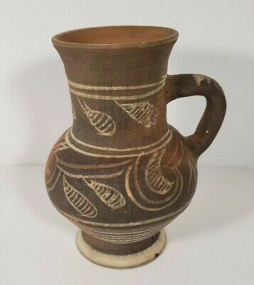 Studio Hand Crafted Art Pottery 5 Jug Vase Unmarked Browns