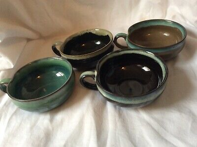 Lot of 4 Ceramic Bowls With Handle Made in Japan-