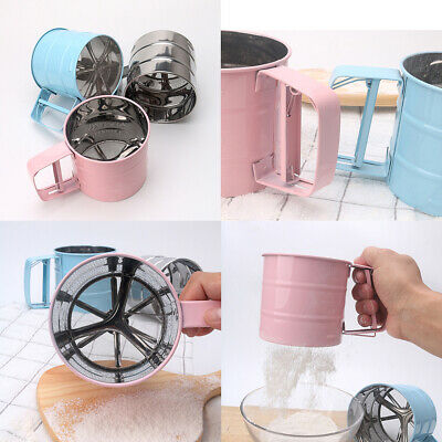 US Stainless Steel Mesh Flour Icing Sugar Sifter Sieve Strainer Cup Baking Tool