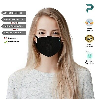 Face Mask Washable Reusable Breathable 6 Layered Virus Protection Face Cover US