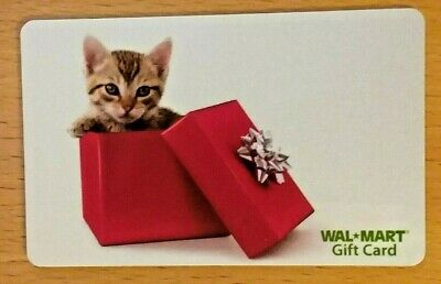 Walmart Gift Card KITTEN IN A GIFT BOX No Value Christmas Chanukah