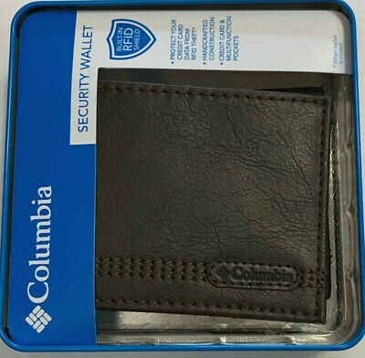 New Columbia Mens Coated Leather Bifold Wallet Brown Color 21-00