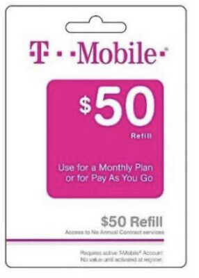 T-Mobile  Prepaid 50 Refill Top-Up Prepaid Card  AIR TIME  PIN  RECHARGE