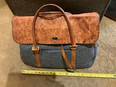HARTMANN Luggage Tote Bag Carry On Brown Gray Blue Tan Leather Overnight
