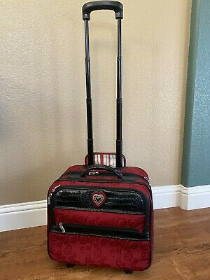 EUC Brighton Red Black Rolling Case Carry-on Briefcase with Retractable Handle