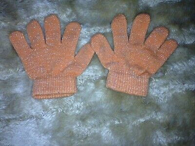 Baby Handschuhe Orange Glitzer one size