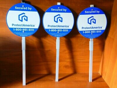3x Security Yard Signs w Aluminum Post ProtectAmerica Branded Brand New