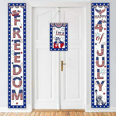 3PCS  4ThFourth Of July Decorations Patriotic Banners Door Decor Red White Blue